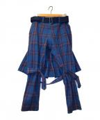 PEEL&LIFT(ピールアンドリフト)の古着「ボンテージディテールチェックパンツ」 ブルー