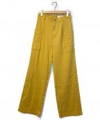 MACPHEE(マカフィー)の古着「リネンレーヨンストレッチワイドカーゴパンツ」|イエロー