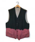 COMME des GARCONS HommePlus(コムデギャルソンオムプリュス)の古着「90's脱色デザインレーヨンベスト」|グリーン×ピンク