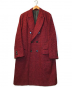 TAKEO KIKUCHI(タケオキクチ)の古着「チェックデザインダブルロングコート」 レッド×ブラック