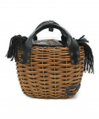 ebagos(エバゴス)の古着「ファー付2本編みカゴバッグ」 ベージュ×ブラック