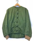 ()の古着「[OLD]80'sノーカラーライナーミリタリージャケット」 カーキ