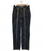 JOHN LAWRENCE SULLIVAN(ジョンローレンスサリバン)の古着「センタージップデニムパンツ」|ブラック