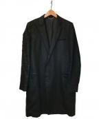 CHRISTIAN DADA()の古着「フェザー刺繍チェスターコート」|ブラック