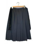 ()の古着「ファードッキングプリーツスカート」 ブラック