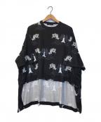 UNDERCOVER(アンダーカバー)の古着「総柄前後丈違ビッグTシャツ」|ブラック