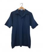 HOMME PLISSE ISSEY MIYAKE(オムプリッセイッセイミヤケ)の古着「プリーツS/Sシャツ」 ネイビー
