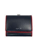 agnes b(アニエスベー)の古着「がま口3つ折り財布」|ネイビー×レッド
