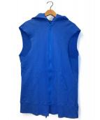 ()の古着「ダブルジップノースリーブパーカー」 ブルー
