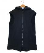 UNDERCOVER(アンダーカバー)の古着「ダブルジップノースリーブパーカー」|ブラック