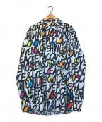 LOVE MOSCHINO(ラブモスキーノ)の古着「オールオーバープリントシャツ」 ホワイト×ブラック