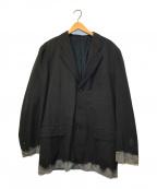 COMME des GARCONS HommePlus(コムデギャルソンオムプリュス)の古着「90'sウールギャバジジン脱色3Bテーラードジャケット」|ブラック