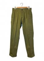 PT01(ピーティーゼロウーノ)の古着「コットン1プリーツテーパードパンツ」 オリーブ
