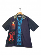TOGA VIRILIS(トーガ ビリリース)の古着「ゼブラ柄S/Sオープンカラーシャツ」|ネイビー