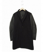 MENS BIGI(メンズビギ)の古着「袖シープレザー切替チェスターコート」|ブラック