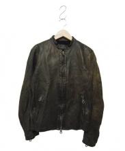 ISAMU KATAYAMA BACKLASH(イサムカタヤマ バックラッシュ)の古着「シングルライダースジャケット」 カーキ