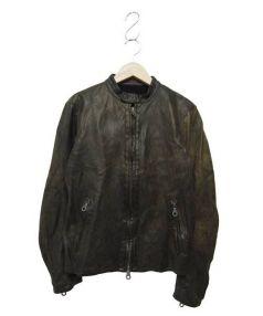 ISAMU KATAYAMA BACKLASH(イサムカタヤマ バックラッシュ)の古着「シングルライダースジャケット」|カーキ