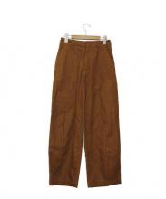 KICS DOCUMENT.(キクスドキュメント)の古着「コットンリネン2タックワイドパンツ」|ブラウン