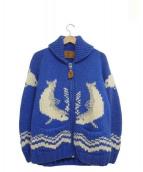 CANADIAN SWEATER(カナディアンセーター)の古着「カウチンニットカーディガン」 ブルー