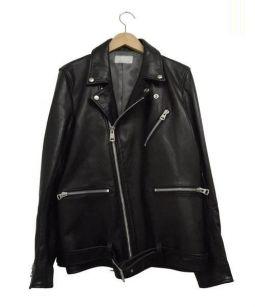 LUDI(ルディ)の古着「ダブルレザーライダースジャケット」 ブラック