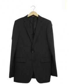 COMME CA MEN(コムサメン)の古着「ポリストシャドーストライプジャケット」|ブラック