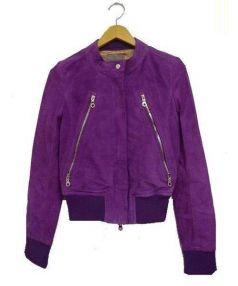 DOUBLE STANDARD CLOTHING(ダブル スタンダード クロージング)の古着「レザーブルゾン」|パープル