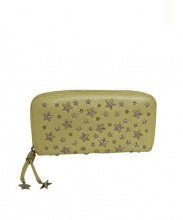 JIMMY CHOO(ジミーチュウ)の古着「スタッズラウンドファスナー財布」|イエロー