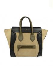 CELINE(セリーヌ)の古着「カーフリネンラゲージトートバッグ」|ブラック×ベージュ