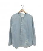 SUB-AGE.(サベージ)の古着「ノーカラーデニムシャツ」|インディゴ