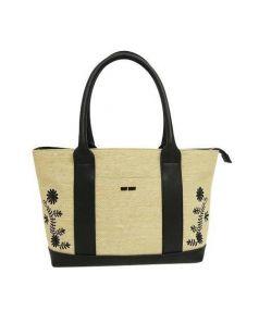 MARY QUANT(マリークヮント)の古着「パナマボタニカルトートバッグ」|ブラック×ベージュ