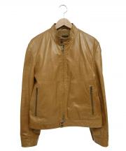 BOSS HUGO BOSS(ボスヒューゴボス)の古着「カウレザージャケット」 ベージュ