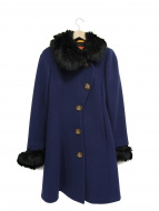 Vivienne Westwood RED LABEL(ヴィヴィアンウエストウッド レッドレーベル)の古着「オーブボタンデザインアシメントリーウールファーコート」|ネイビー