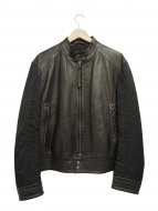 BOSS HUGO BOSS(ボスヒューゴボス)の古着「切替シングルラムレザージャケット」|ブラック