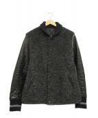 ISAMU KATAYAMA BACKLASH(イサムカタヤマバックラッシュ)の古着「アルパカ混ホースレザーウールスタジャン」|ブラック