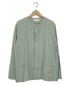 bunt(バント)の古着「ノーカラーシャツ」|グリーン