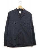 MACKINTOSH PHILOSOPHY(マッキントッシュフィロソフィー)の古着「ナイロン麻ウェザークロスオープンカラーシャツ」|ネイビー