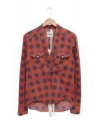 TAKAHIROMIYASHITA TheSoloIst.(タカヒロミヤシタザソロイスト)の古着「羽織カウボーイチェックシャツ」 レッド×ネイビー