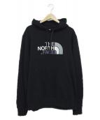 THE NORTH FACE(ザノースフェイス)の古着「ロゴ刺繍プルオーバーパーカー」|ブラック