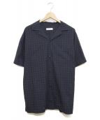 POP TRADING COMPANY(ポップトレーディングカンパニー)の古着「半袖オープンカラーシャツ」|ネイビー
