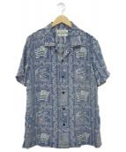 REMI RELIEF×BEAMS PLUS(レミレリーフ×ビームス プラス)の古着「別注カットジャガードアロハシャツ」|ブルー