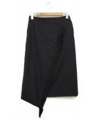 HYKE(ハイク)の古着「カシミヤ混フリンジラップロングスカート」|ネイビー