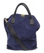SAZABY(サザビ)の古着「スウェード切替2WAYハンドバッグ」|ネイビー