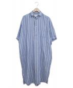 TICCA(ティッカ)の古着「リネン混半袖ブラウスワンピース」|ブルー