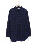 UNUSED(アンユーズド)の古着「ブロックチェックビッグシルエットネルシャツ」 ブルー×ブラック