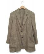 LARDINI(ラルディーニ)の古着「シルク・リネンライトツィードグレンチェック3Bジャケット」|ベージュ×ブラウン