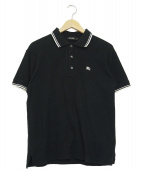 BURBERRY BLACK LABEL(バーバリーブラックレーベル)の古着「ロゴ刺繍半袖ポロシャツ」|ブラック