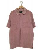 ()の古着「パイルハーフスリーブシャツ」|ピンク