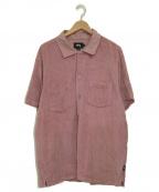 stussy()の古着「パイルハーフスリーブシャツ」|ピンク