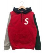 Supreme(シュプリーム)の古着「Sロゴカラーブロックドフーデットスウェットシャツ」|レッド