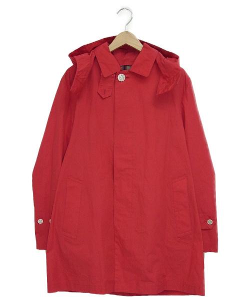MACKINTOSH PHILOSOPHY(マッキントッシュフィロソフィー)MACKINTOSH PHILOSOPHY (マッキントッシュフィロソフィー) フーデッドステンカラーコート レッド サイズ:38の古着・服飾アイテム